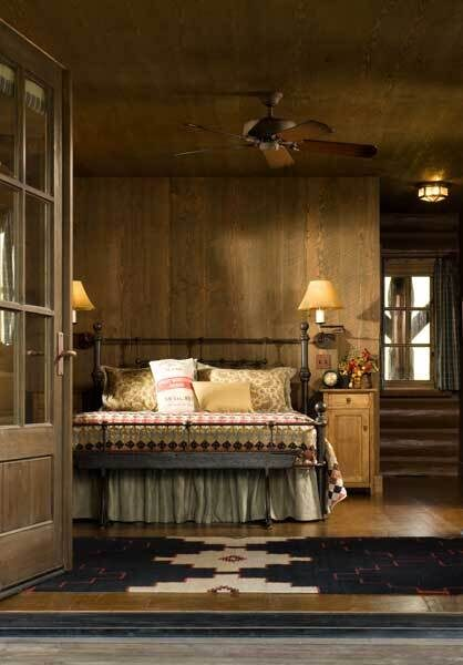 Idaho-log-home-master-bedroom-open-door