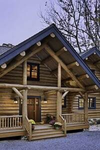 western-virginia-log-home-front-entry